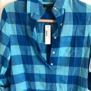 NWT J.CREW plaid button down shirt, blue/aqua sz 0